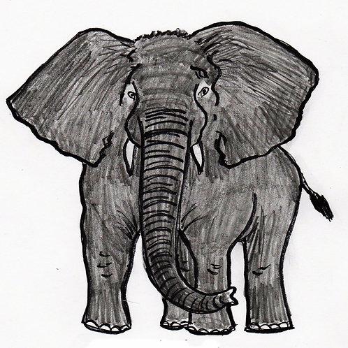 Elephant Illustration, digital download, elephant art
