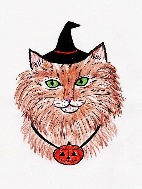 Digital Illustration of a Halloween Cat,Hand Drawn Art, Original