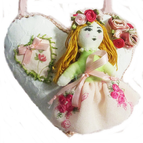 Shabby Chic Heart Pillow-Doll of my Heart