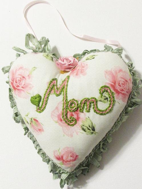 Shabby Chic Heart Pillow- Mom