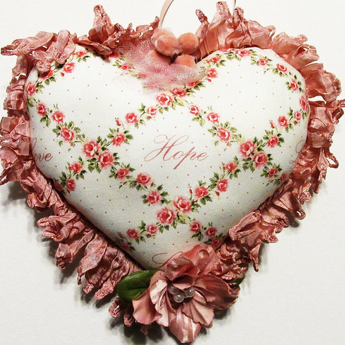Shabby Chic Valentine's Day Heart, Pink Heart Pillow, Hearts