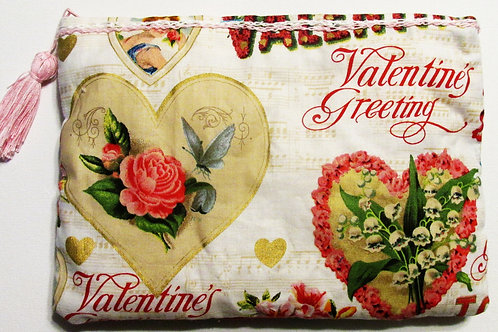 Shabby Chic Valentine's Day Pouch, Valentine's Day Cosmetic Bag