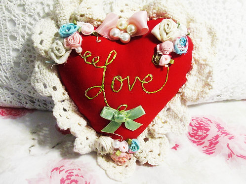 Shabby Chic Red Heart Pillow- Love