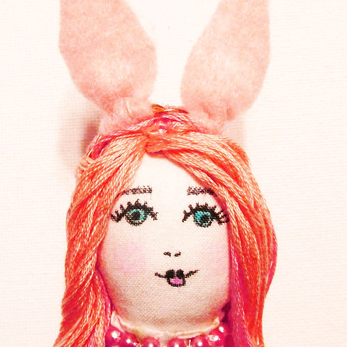Shabby Chic Bunny Doll, Pink Doll, Easter Bunny Doll