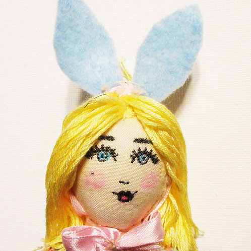 Shabby Chic Bunny Doll, Easter Doll, Blonde Doll