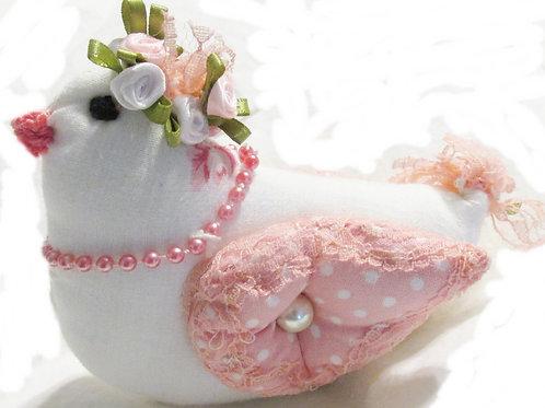 Shabby Chic Bird, Fabric Chick, Handmade Bird, Easter Chick