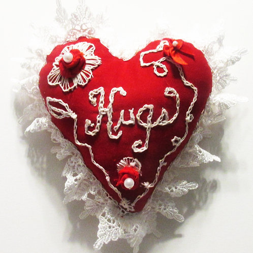 Valentine's Day Heart Pillow-Hugs