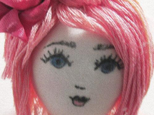 Shabby Chic Doll, Bella Pink, Handmade Doll