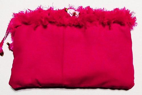 Shabby Chic Fuschia Pouch, Handmade Makeup Bag