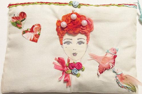 Marie Antoinette Art Makeup Bag, Handmade Cosmetic Bag