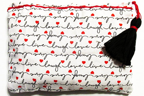 Live,Love,Laugh Makeup Bag, Cosmetic Bag, Handmade Pouch