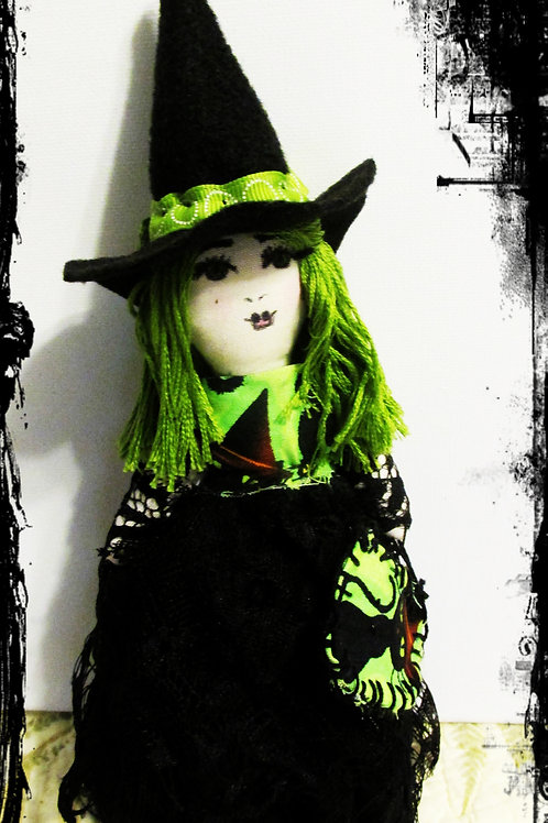 Halloween Witch Doll, Terrifying Trixie, Handmade Witch Doll