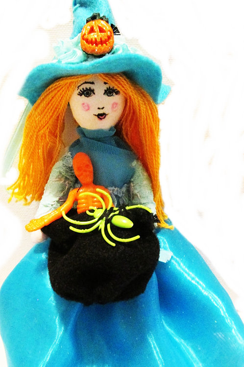 Shabby Chic Turquoise Witch Doll, Halloween Witch Doll