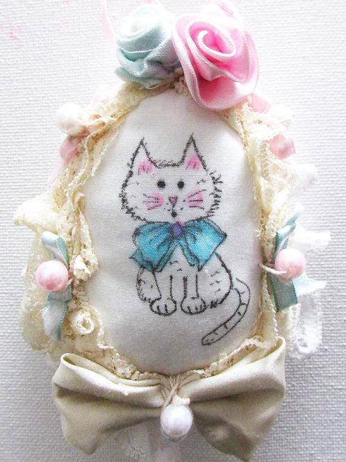 Easter Egg, Fabric Egg, Kitty Easter Egg,Cat Egg