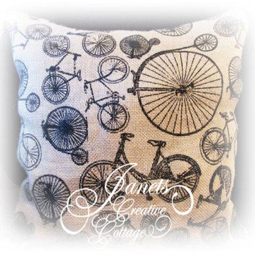 Burlap Pillow-Ride a Bike