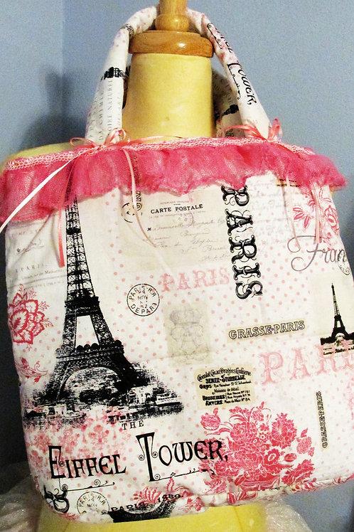 Paris Tote Bag, Handmade Tote, Eiffel Tower Tote Bag