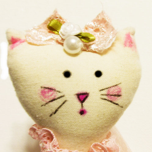 Shabby Chic Cat Doll, Ballerina Cat Doll, Handmade Cat