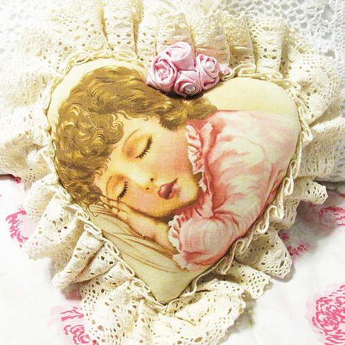Shabby Chic Heart Pillow-Sleeping Beauty-Morning Prayer