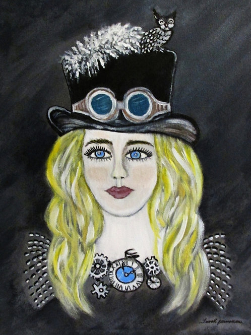 STEAMPUNK LADY ILLUSTRATION, DIGITAL ART DOWNLOAD, HAND DRAWN