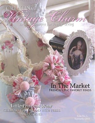 "MY ""QUEEN VICTORIAN BLUE DRESS "" PILLOW WAS FEATURED IN THE SEPTEMBER 2010 1st  ISSUE OF CREATING VINTAGE CHARM"