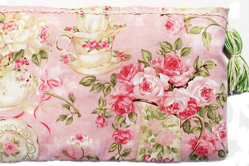 Shabby Chic Teacup and Roses Makeup Bag, Cosmetic Bag