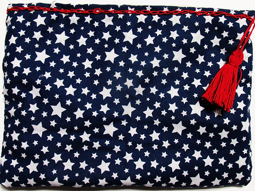 Patriotic Makeup Bag, Navy Blue with Stars Pouch