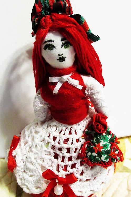 Christmas Doll Ornament, Shabby Chic Christmas Doll, Handmade Doll