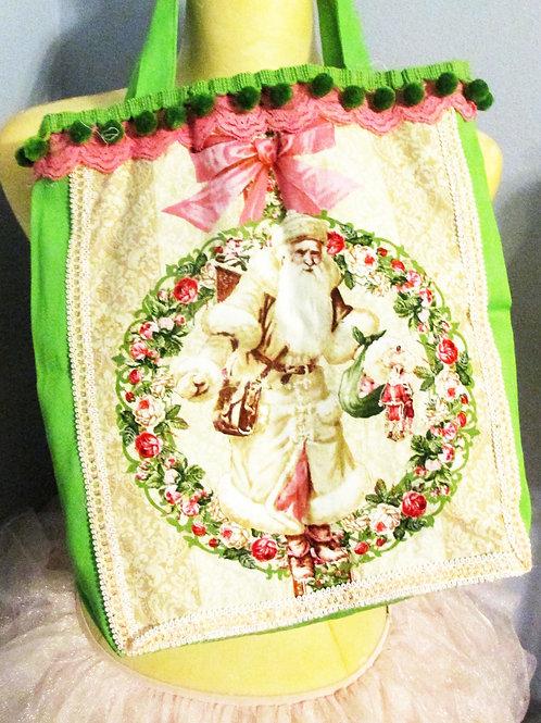 Shabby Chic Santa Tote, Christmas Santa Tote, Handmade Christmas Tote