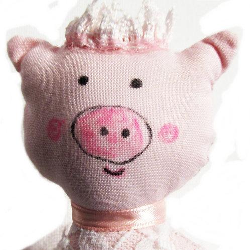Shabby Chic Ballerina Pig Doll, Handmade Pig Doll