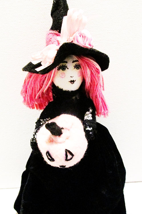 Shabby Chic Halloween Witch Doll, Handmade Witch Doll