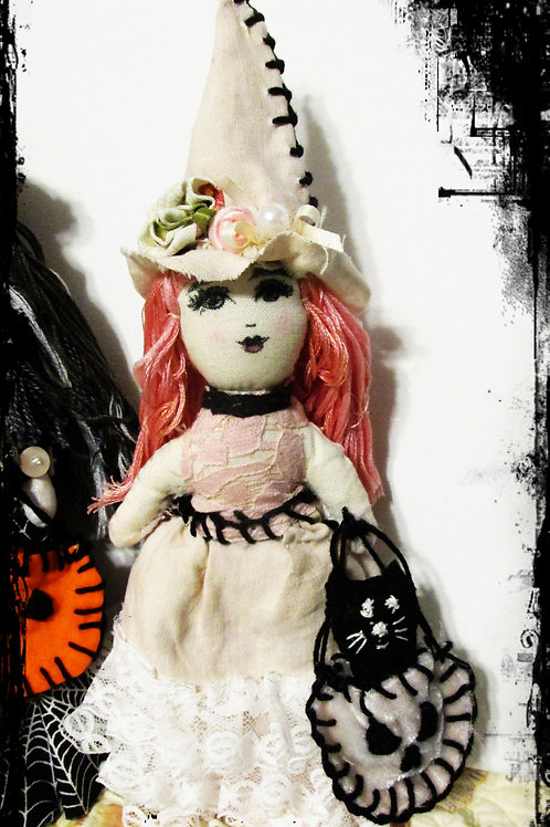 Shabby Chic Halloween Witch Doll-Halloween Doll