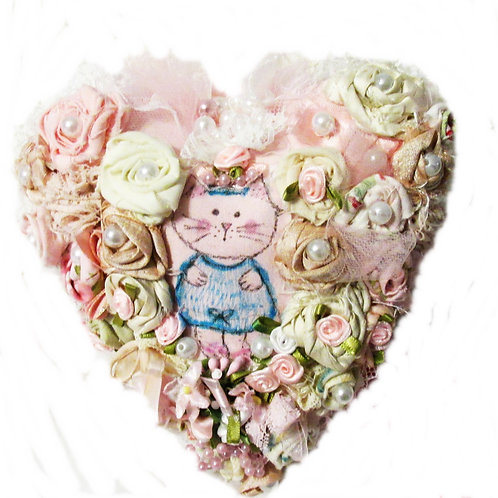 Kitty in Wonderland-Heart Pillow