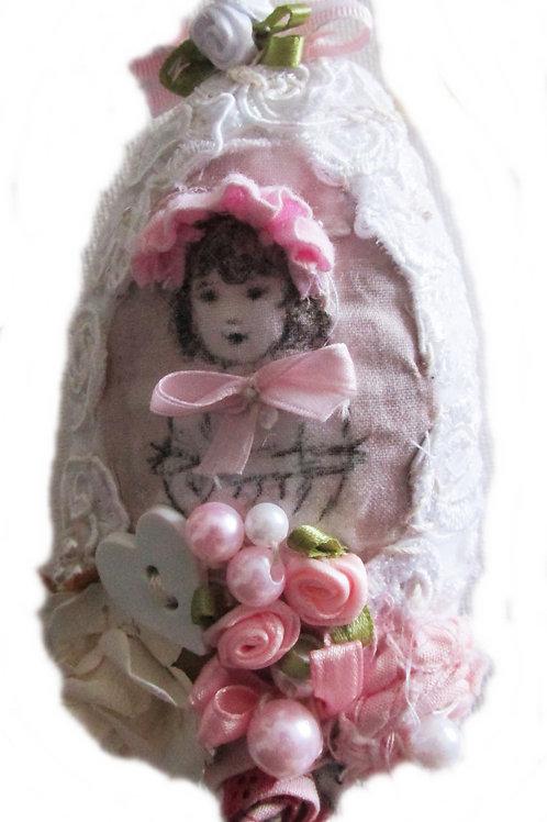 Shabby Chic Little  Victorian Girl Easter Egg