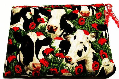 Cow Makeup Bag, Cosmetic Bag, Shabby Chic Cow Makeup Bag
