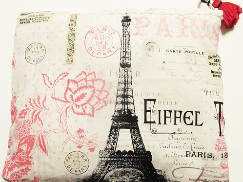 Shabby Chic French Carry All Pouch, Paris Bag, Eiffel Tower Bag
