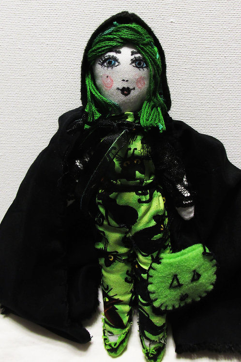 Halloween Trick or Treater Doll, Green Hair Doll, Handmade doll