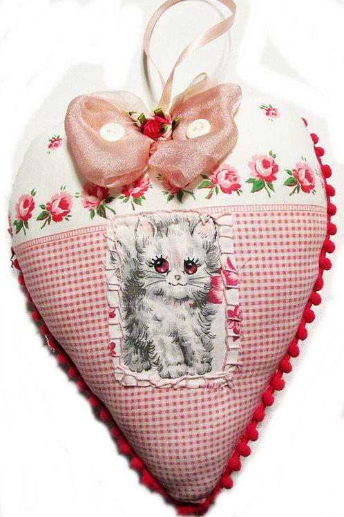 Shabby Chic Heart, Valentine's Day Heart Pillow, Valentine Cat