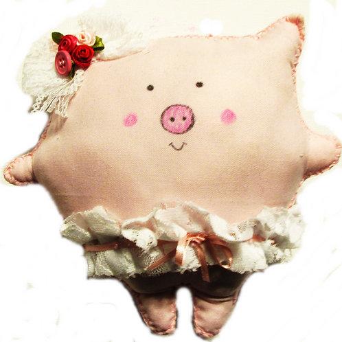 Puffie Pig Stuffed Animal, Pig Doll, Pink Piggie