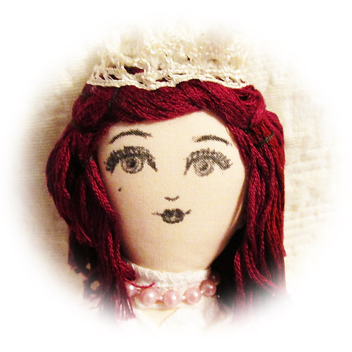 Handmade Doll,Red Hair Doll,Handcrafted Doll,Cloth Doll