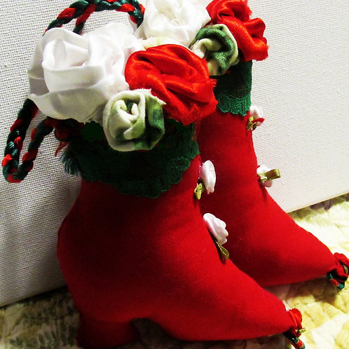 Shabby Chic Red Boot Christmas Ornaments