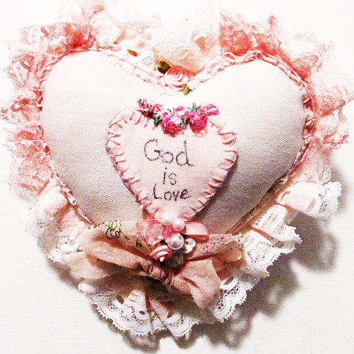 Heart Pillow-God is Love, Valentine's Day Heart