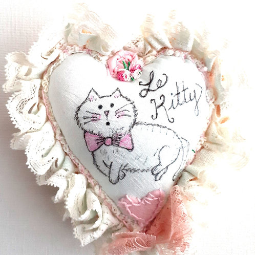 Le Kitty Heart Pillow