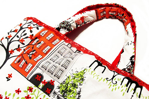 Shabby Chic Paris Tote, French Themed Tote Bag, Eiffel Tower Tote