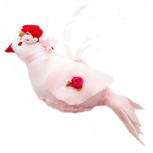 Shabby Chic Handmade Stuffed Pink Fabric Bird