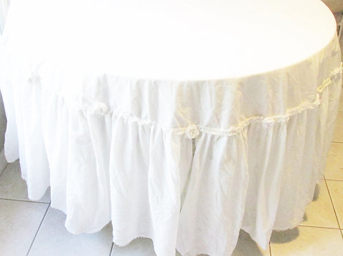 Shabby Chic White Tablecloth-White Tablecloth