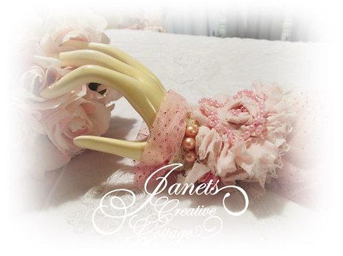 Shabby Chic Fabric Cuff-Shabby Pink Cuff