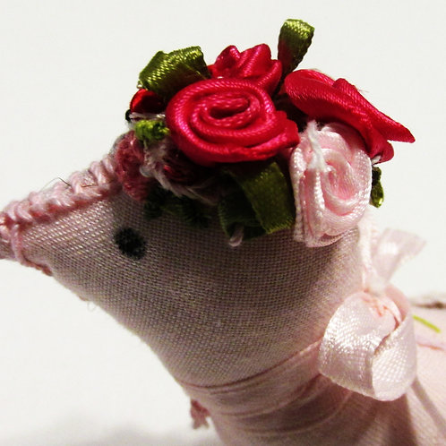 Shabby Chic Pink Bird, Pink Bird, Fabric Bird, Bird Ornament