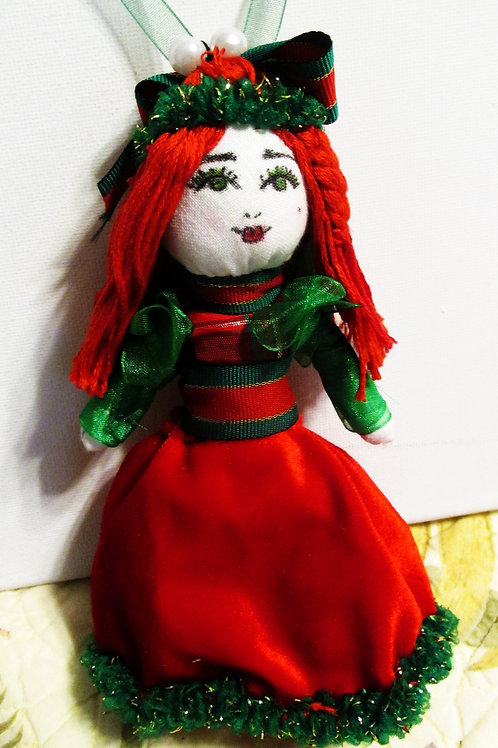 Christmas Doll Ornament, Shabby Chic Christmas Doll Ornament