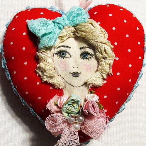 Valentine's Day Polka Dot Heart, Shabby Chic Hearts, Victorian Heart