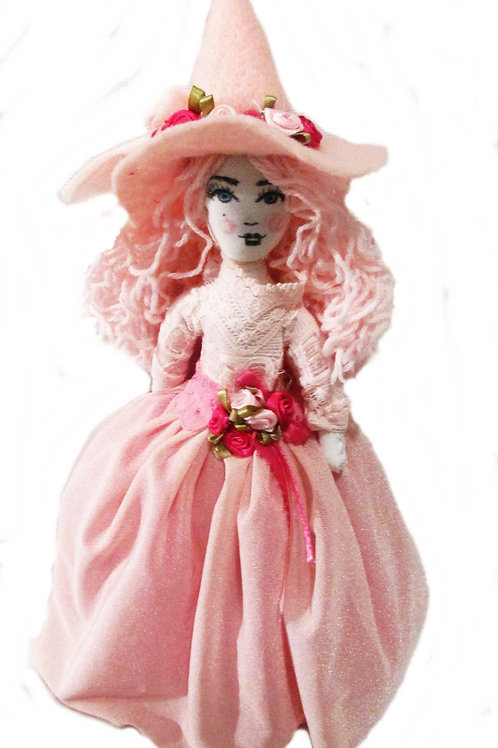 Shabby Chic Halloween Pink Witch Doll, Handmade Witch Decorative Ornament